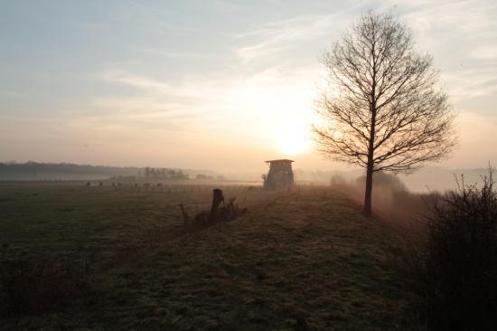 Point de vue sur digue à l'aube